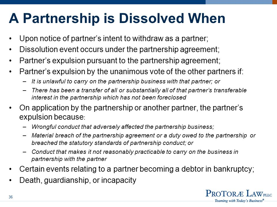 A Partnership is Dissolved When