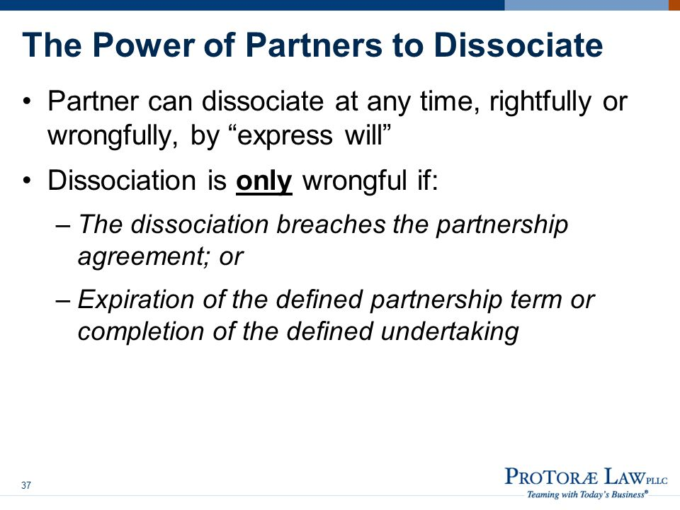 The Power of Partners to Dissociate