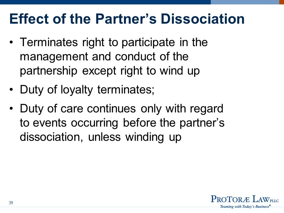 Effect of the Partner's Dissociation