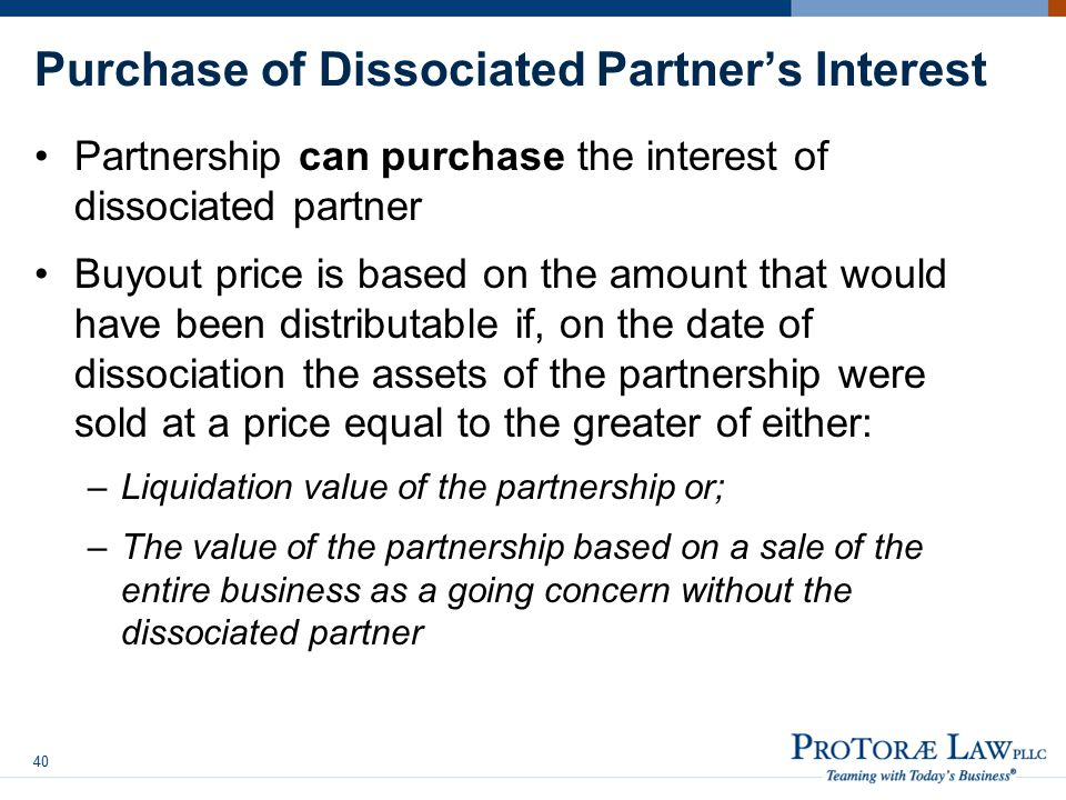 Purchase of Dissociated Partner's Interest