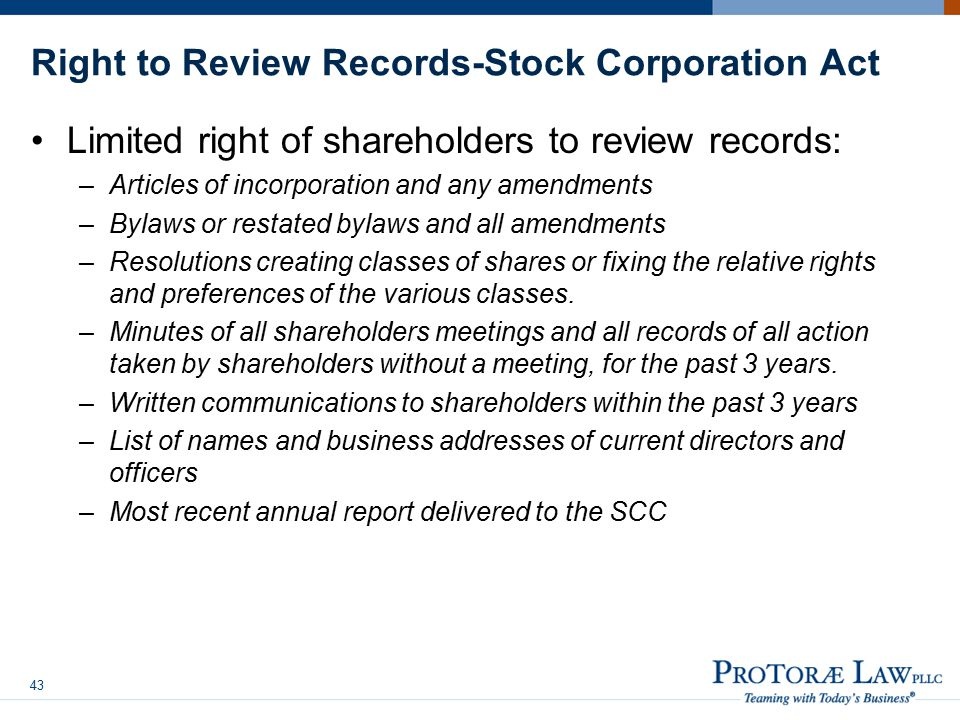 Right to Review Records-Stock Corporation Act