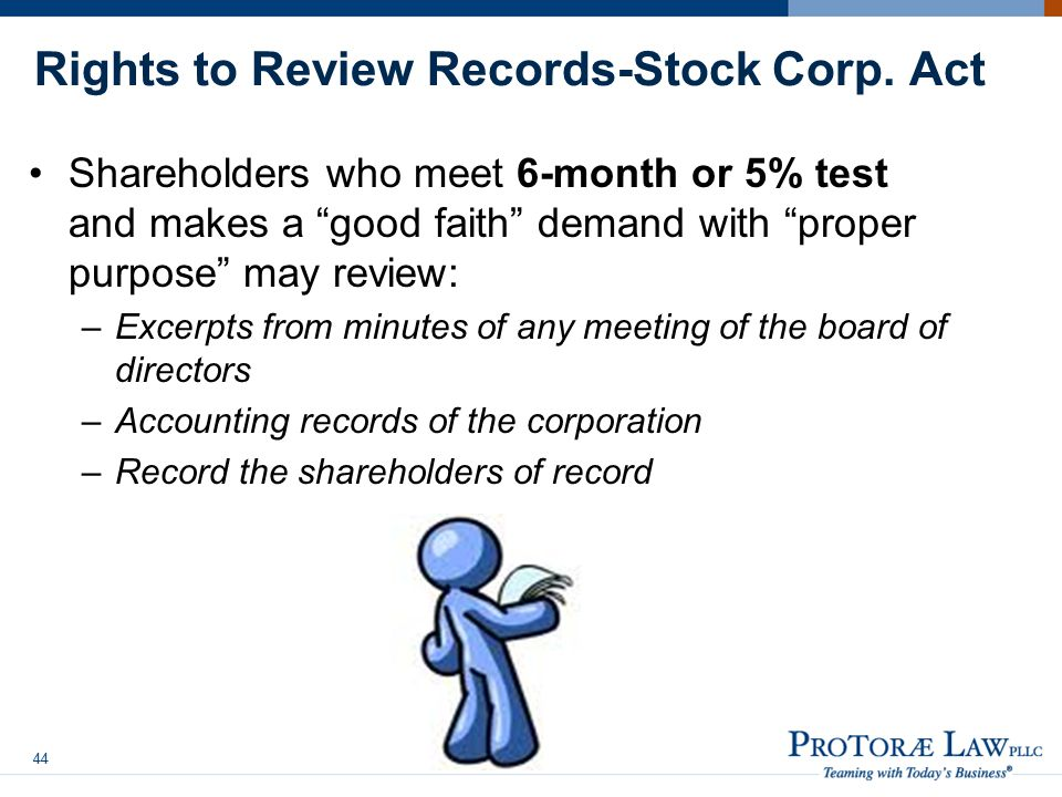 Rights to Review Records-Stock Corp. Act