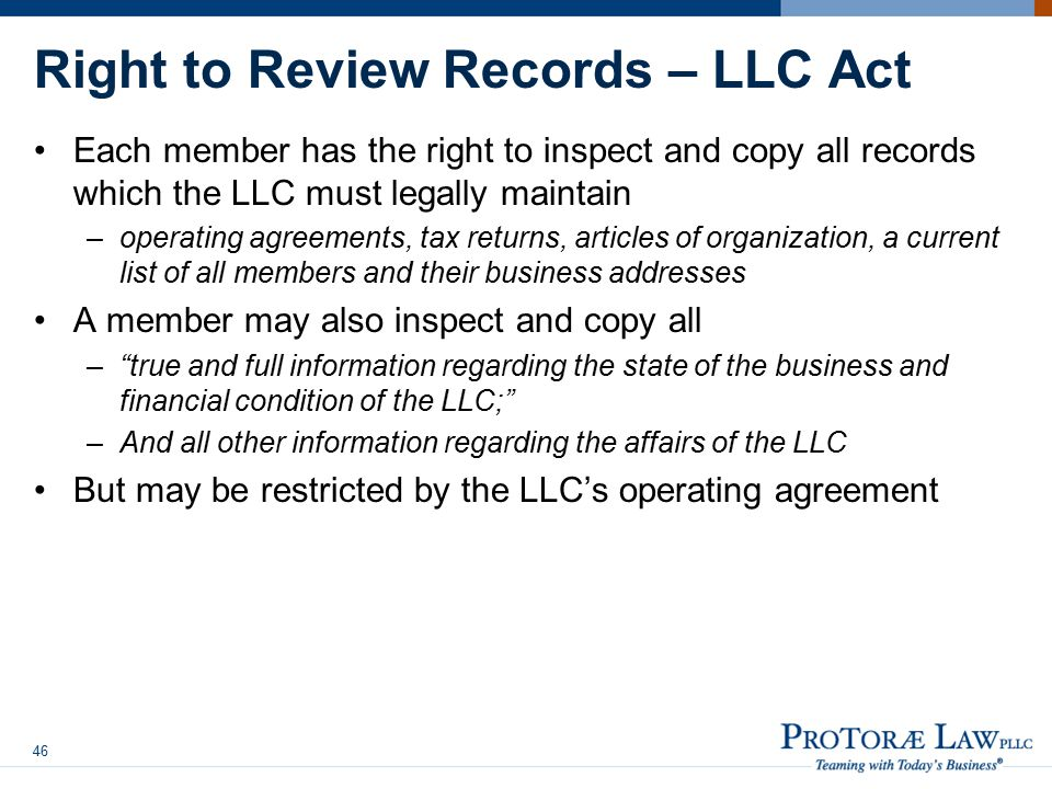 Right to Review Records – LLC Act