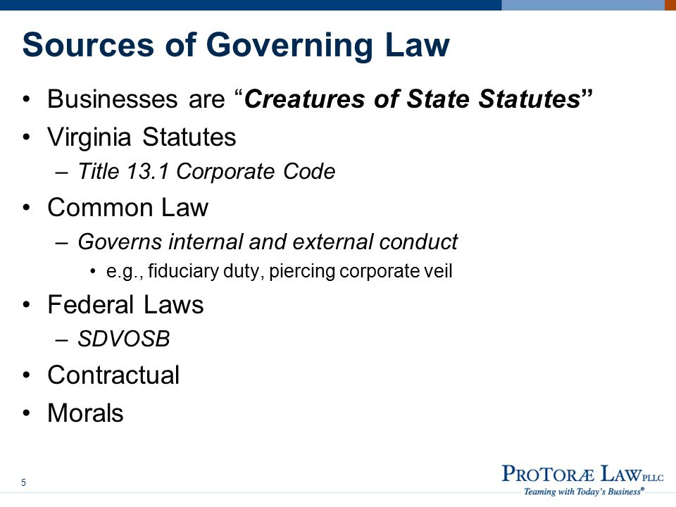 Sources of Governing Law