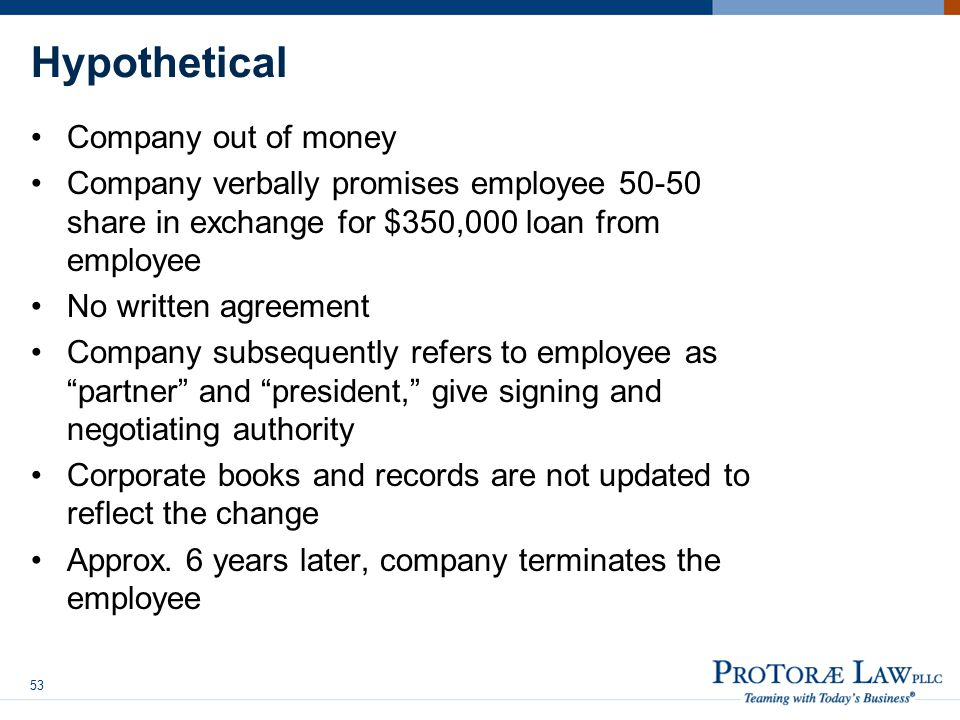 Hypothetical Company out of money