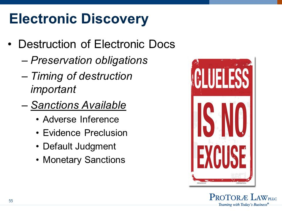 Electronic Discovery Destruction of Electronic Docs