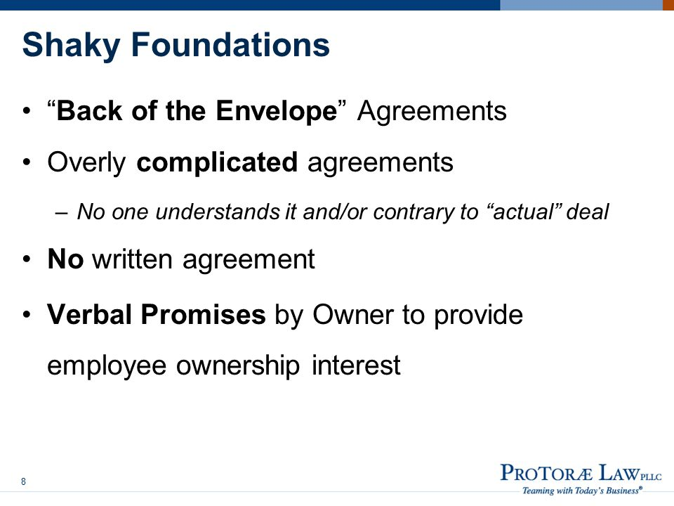 Shaky Foundations Back of the Envelope Agreements