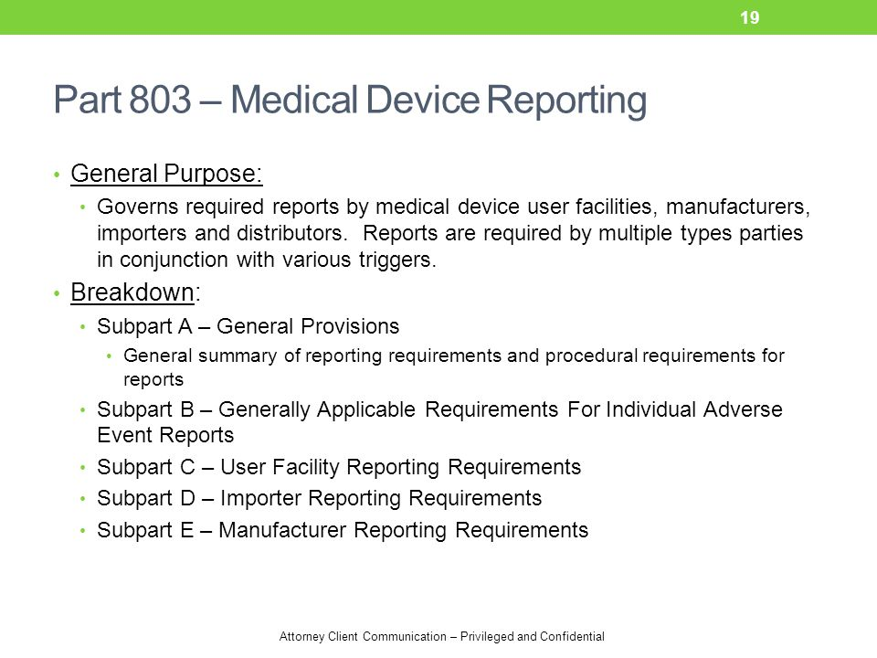 Part 803 – Medical Device Reporting