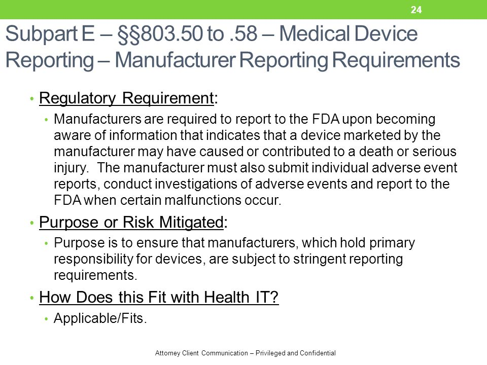 Subpart E – §§803.50 to .58 – Medical Device Reporting – Manufacturer Reporting Requirements
