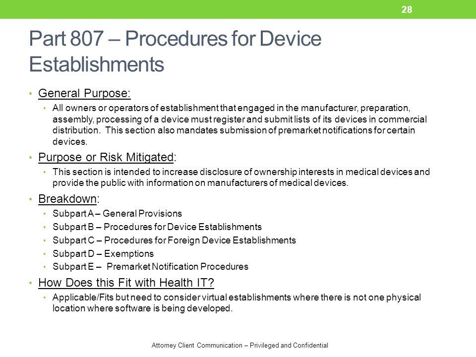 Part 807 – Procedures for Device Establishments