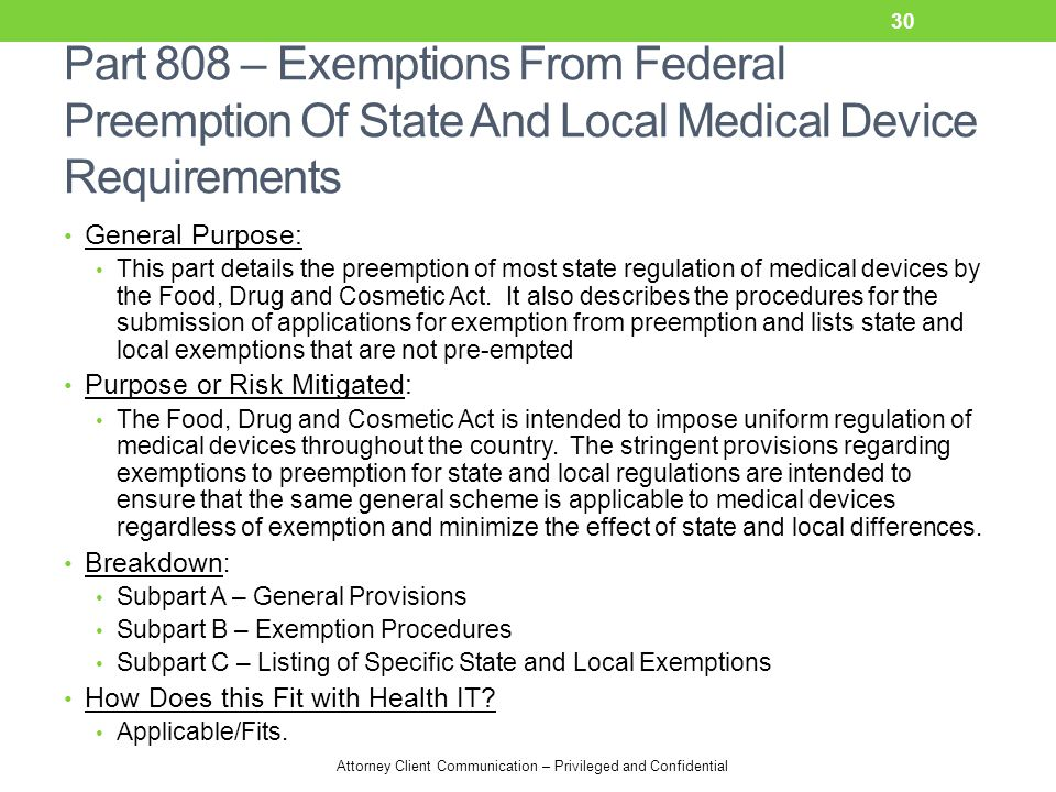 Part 808 – Exemptions From Federal Preemption Of State And Local Medical Device Requirements