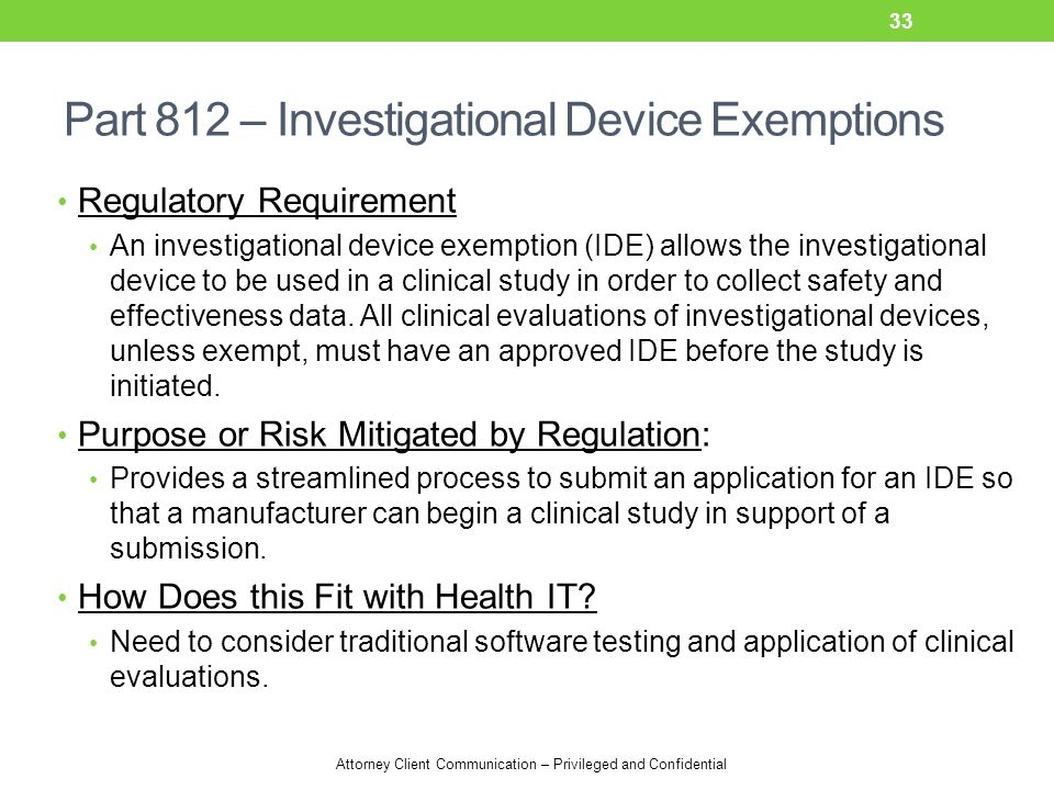 Part 812 – Investigational Device Exemptions