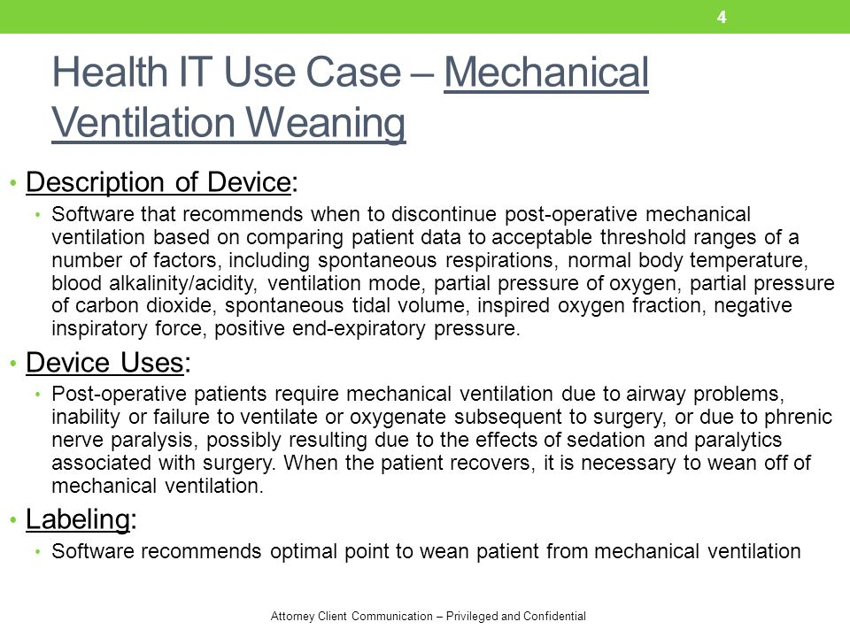 Health IT Use Case – Mechanical Ventilation Weaning