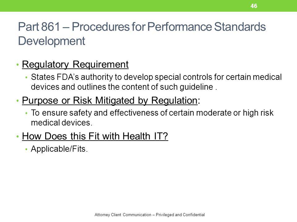 Part 861 – Procedures for Performance Standards Development