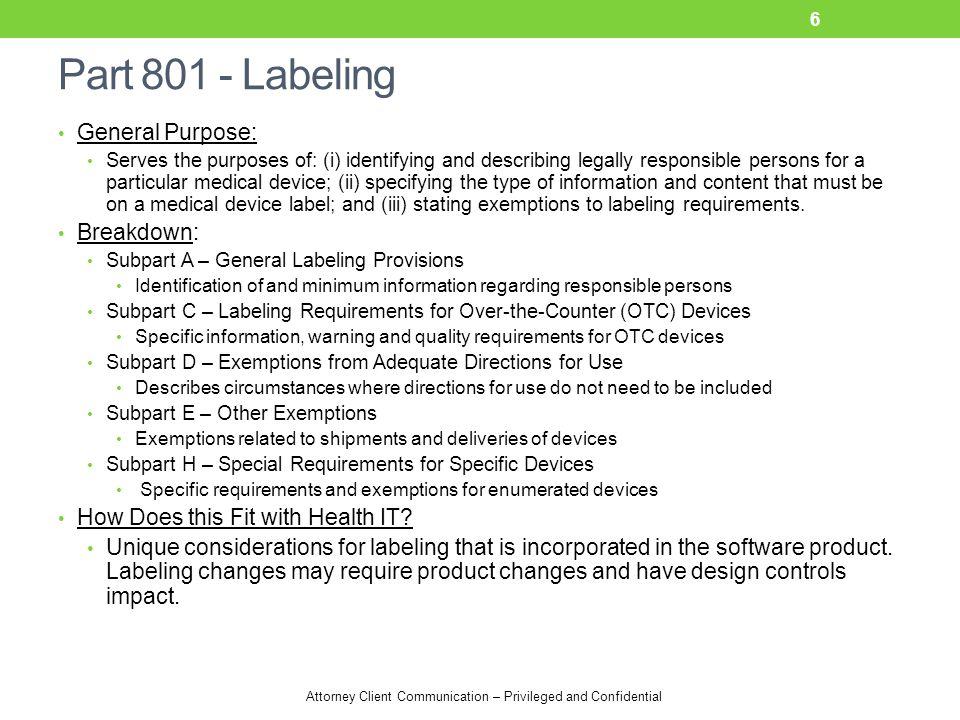 Part 801 - Labeling General Purpose: Breakdown: