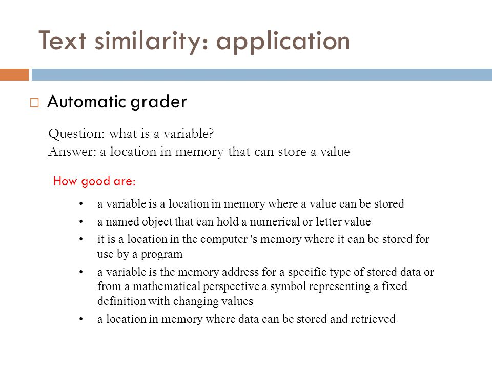 Text similarity: application