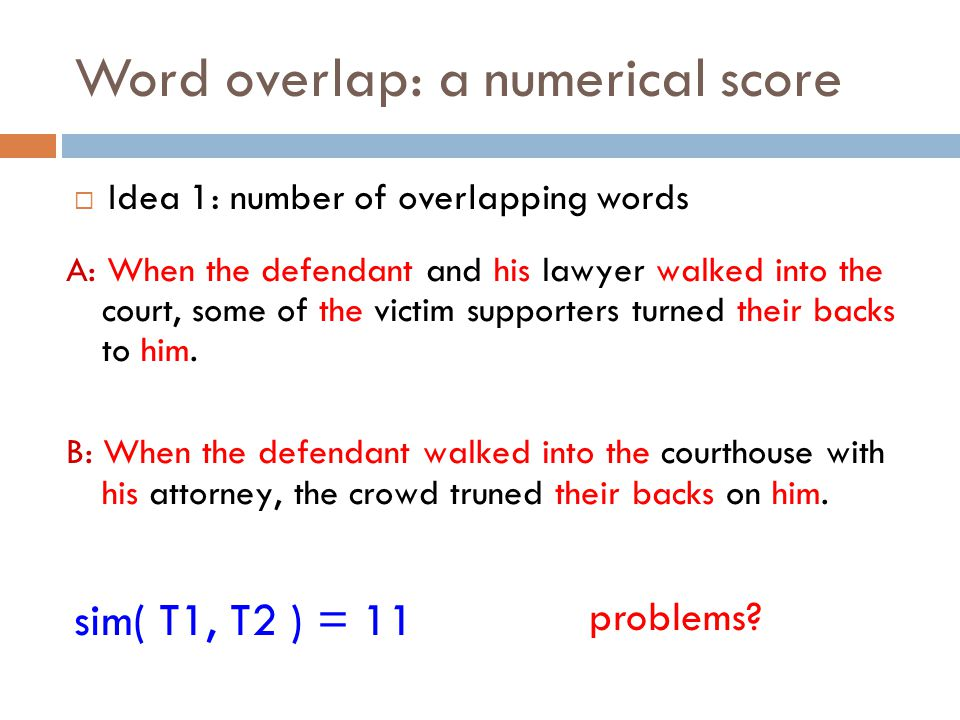 Word overlap: a numerical score