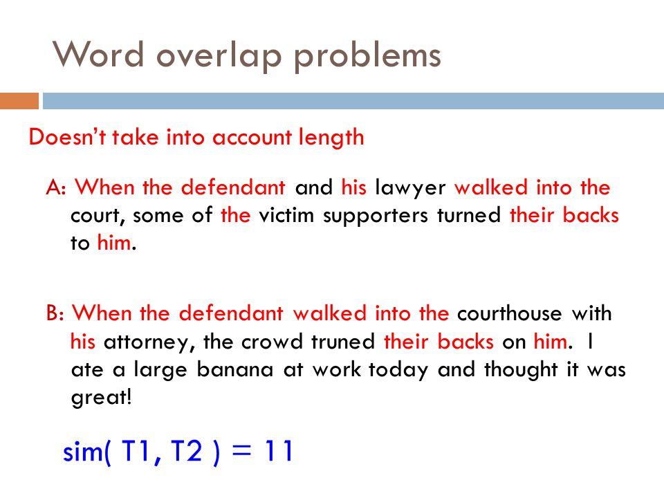 Word overlap problems sim( T1, T2 ) = 11