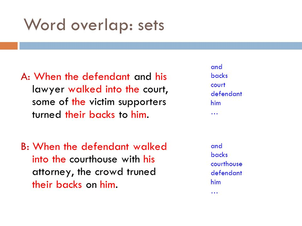 Word overlap: sets and. backs. court. defendant. him. …