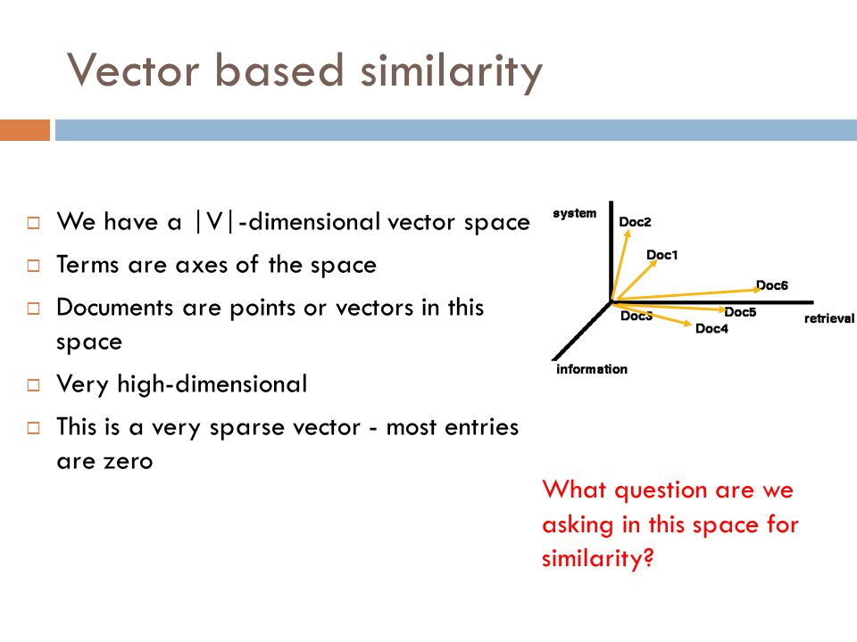 Vector based similarity
