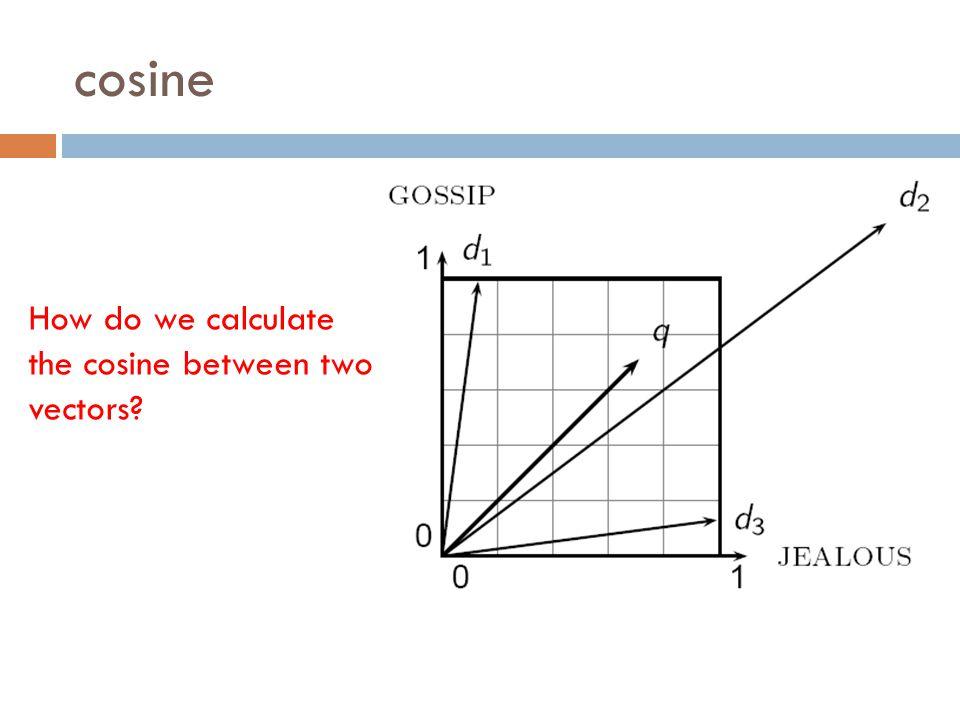 cosine How do we calculate the cosine between two vectors