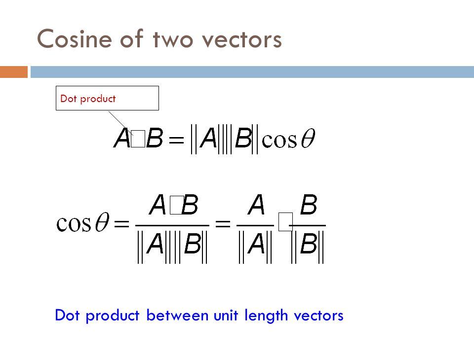 Cosine of two vectors Dot product between unit length vectors