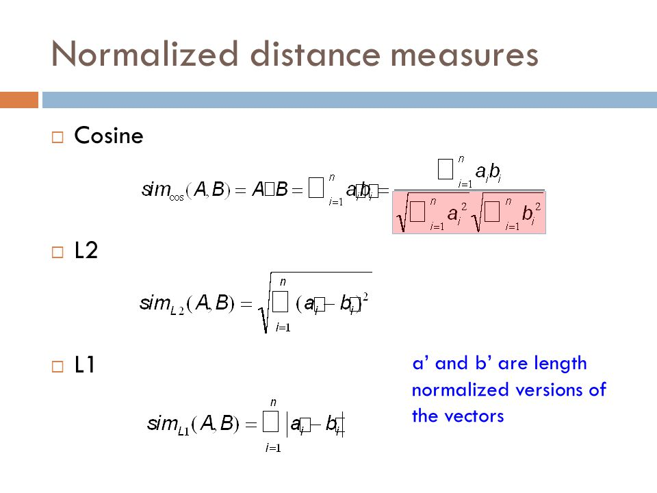 Normalized distance measures