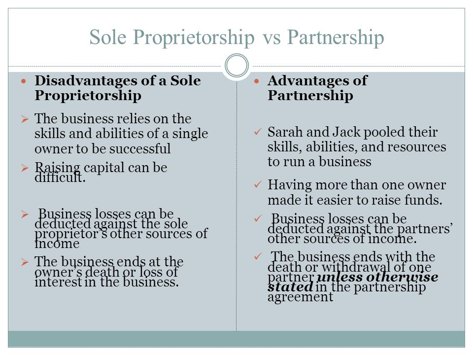 Sole Proprietorship vs Partnership