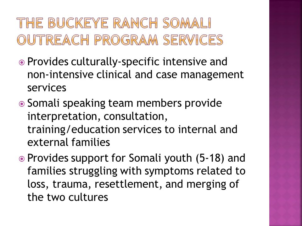 The Buckeye Ranch Somali outreach program services