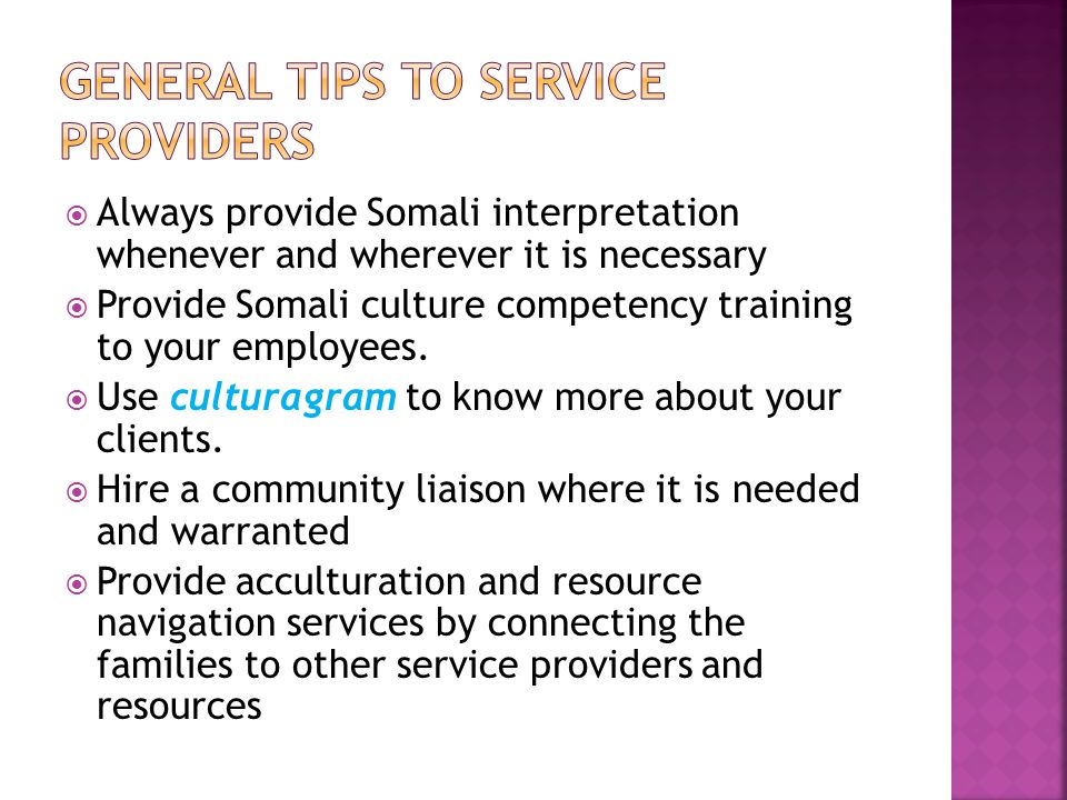 General tips to service providers