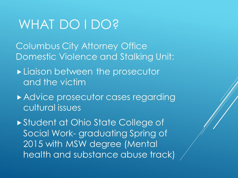 What do I Do Columbus City Attorney Office Domestic Violence and Stalking Unit: Liaison between the prosecutor and the victim.