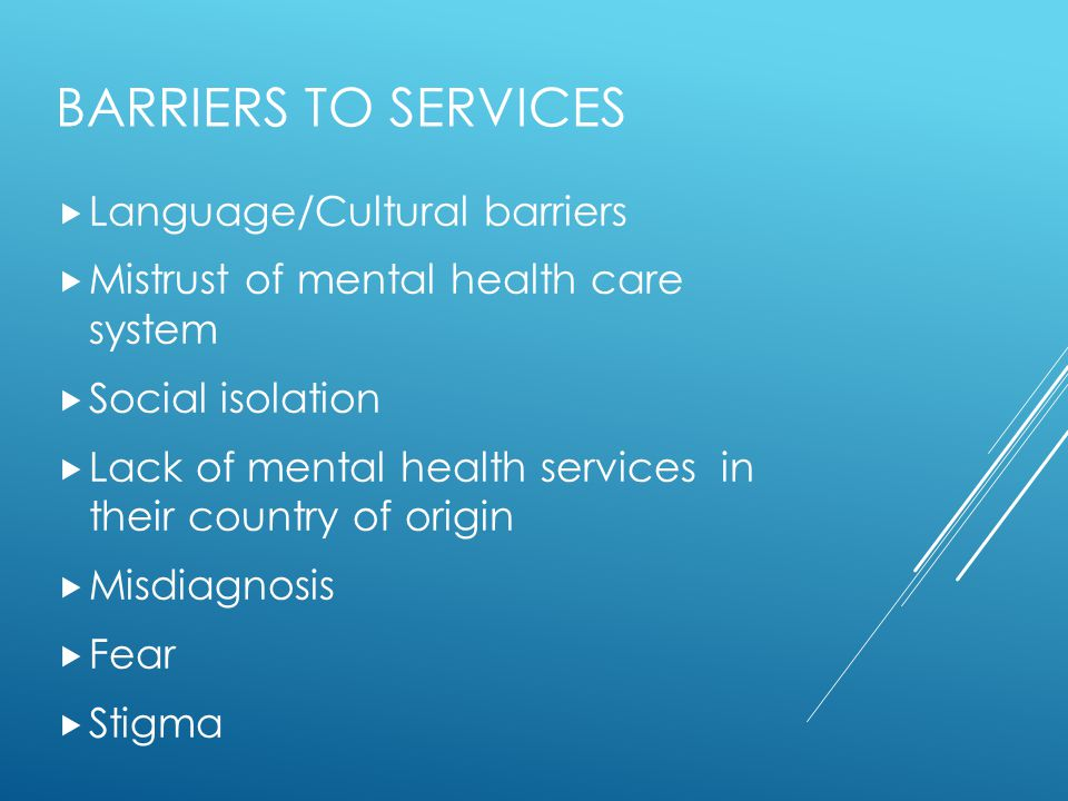 Barriers to services Language/Cultural barriers