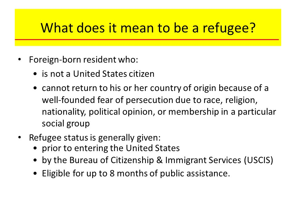 What does it mean to be a refugee