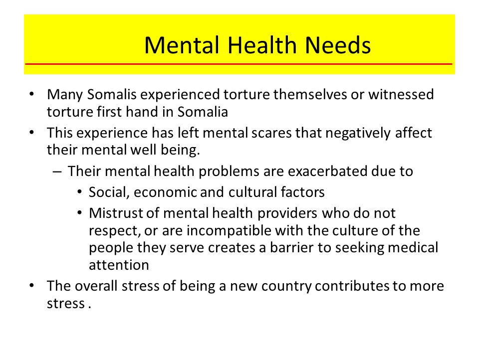 Mental Health Needs Many Somalis experienced torture themselves or witnessed torture first hand in Somalia.