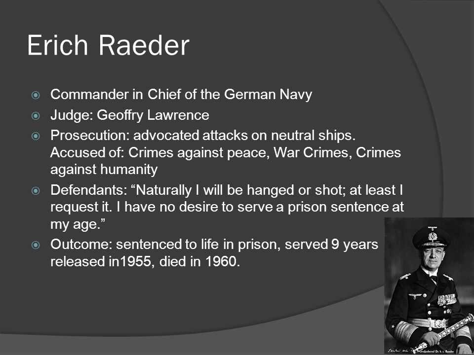 Erich Raeder Commander in Chief of the German Navy