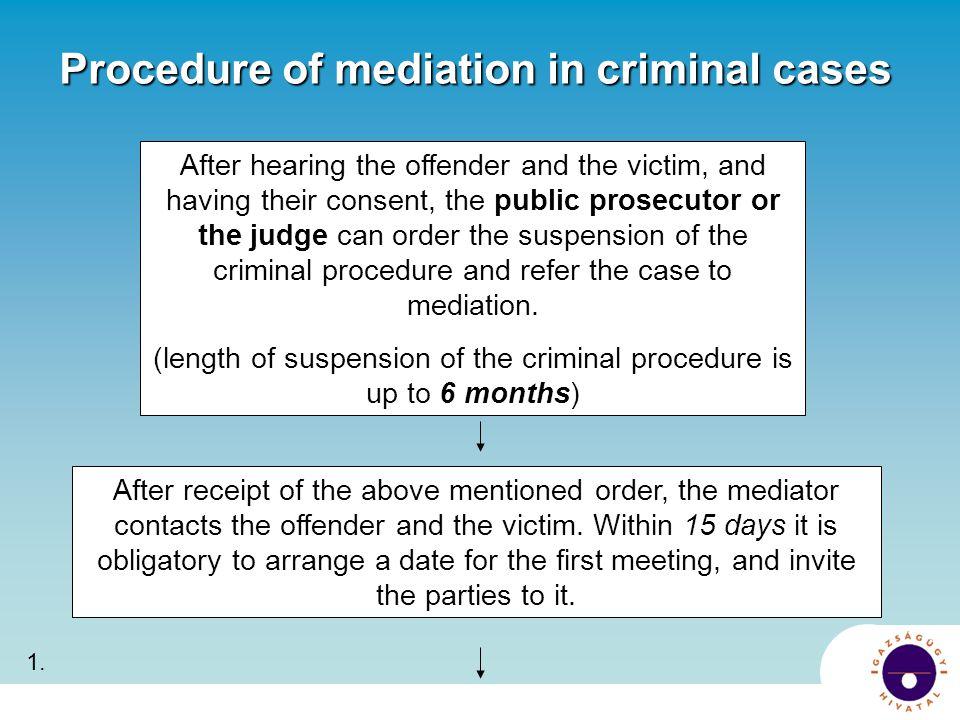 Procedure of mediation in criminal cases