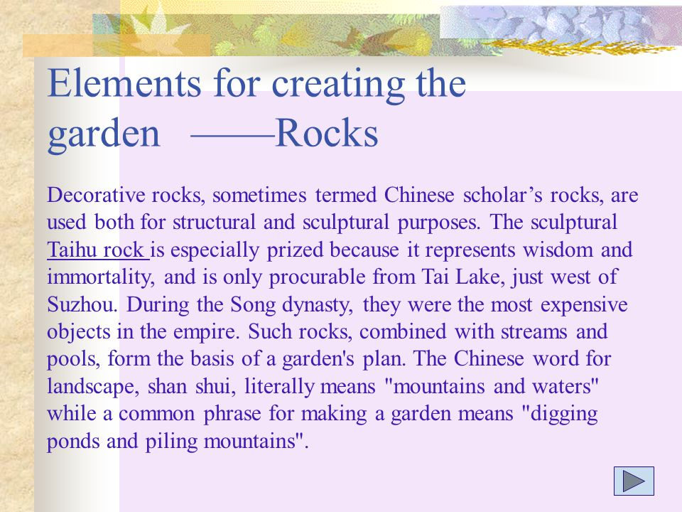 Elements for creating the garden ——Rocks