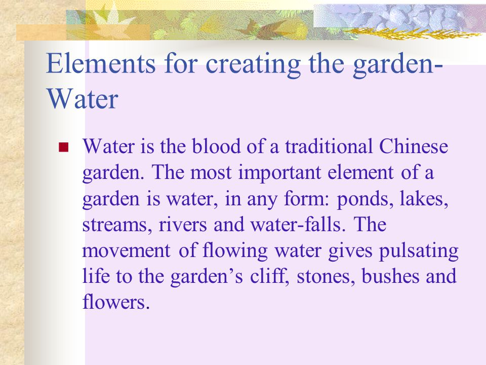 Elements for creating the garden-Water