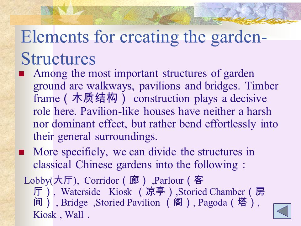 Elements for creating the garden-Structures