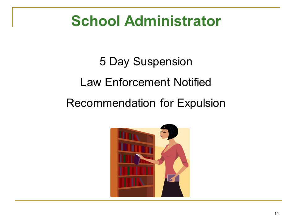 School Administrator 5 Day Suspension Law Enforcement Notified