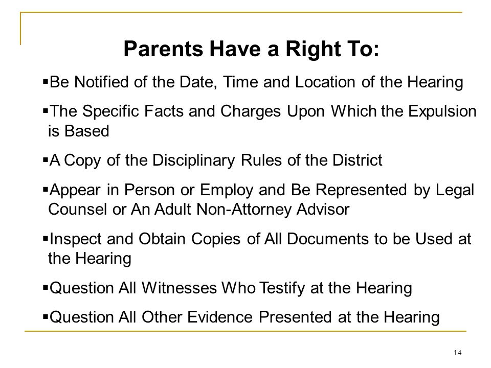 Parents Have a Right To: