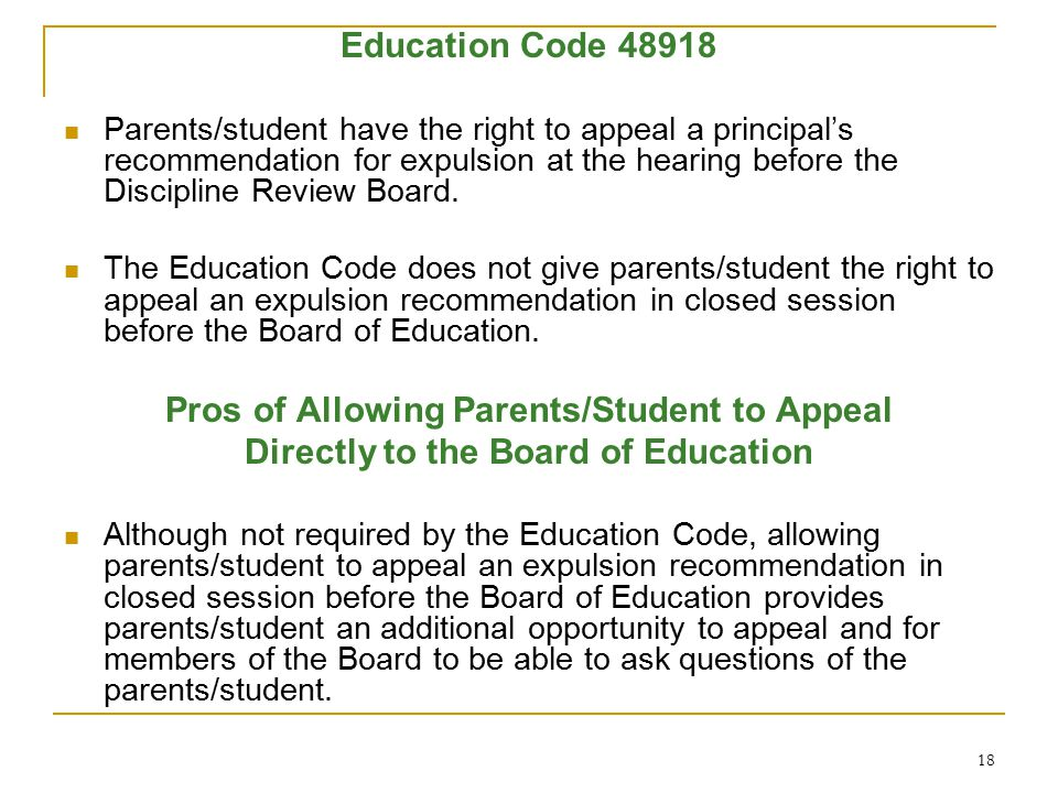 Pros of Allowing Parents/Student to Appeal