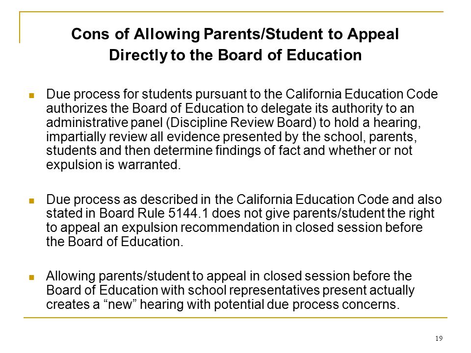 Cons of Allowing Parents/Student to Appeal