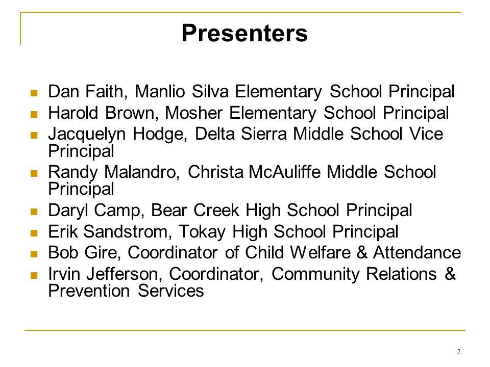 Presenters Dan Faith, Manlio Silva Elementary School Principal