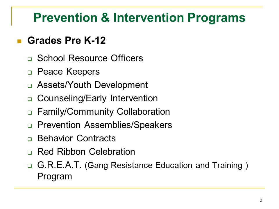 Prevention & Intervention Programs