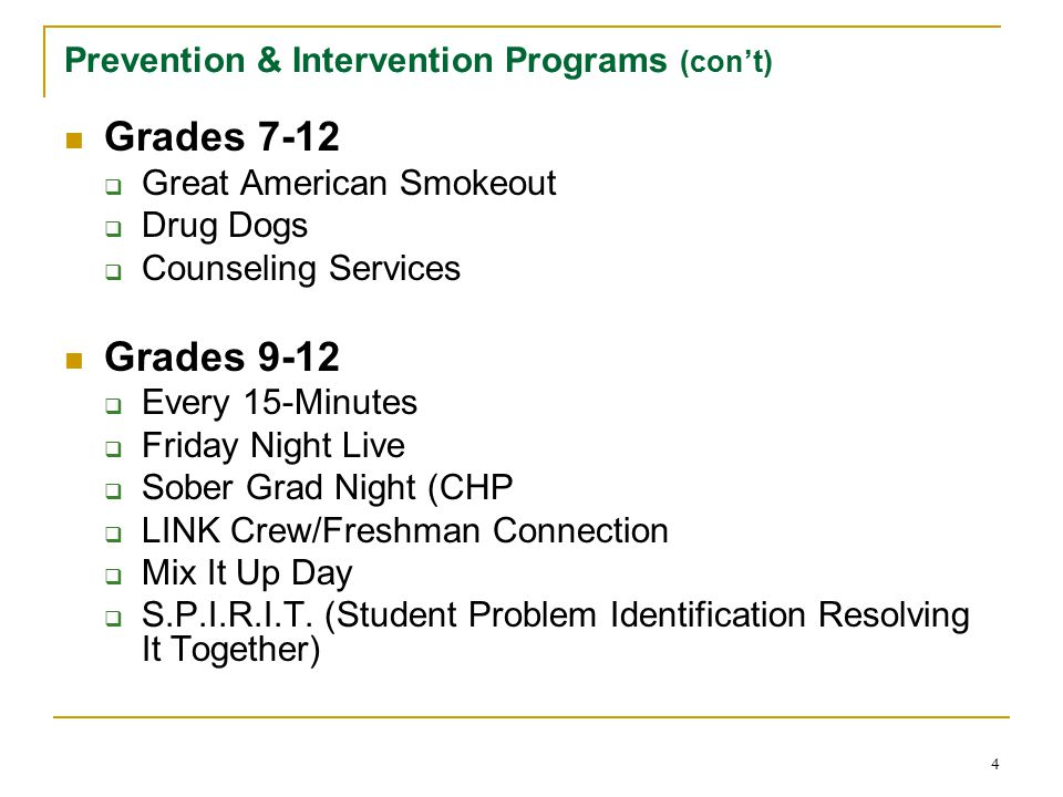 Prevention & Intervention Programs (con't)