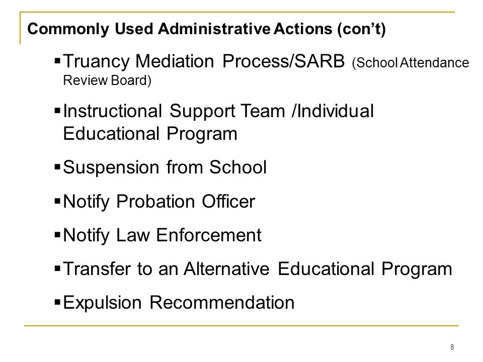 Truancy Mediation Process/SARB (School Attendance Review Board)