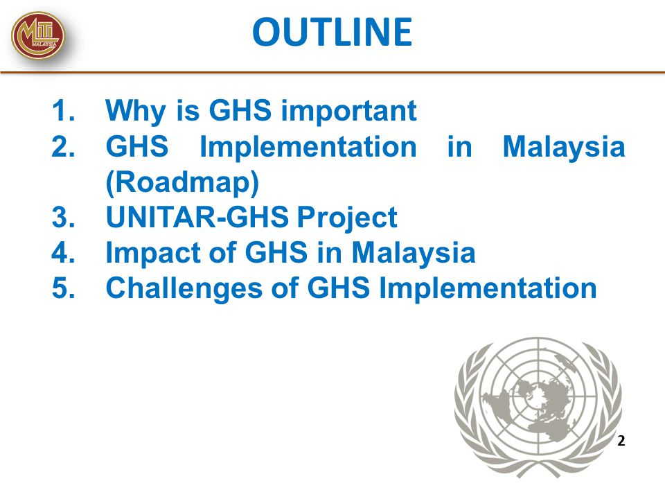 OUTLINE Why is GHS important GHS Implementation in Malaysia (Roadmap)