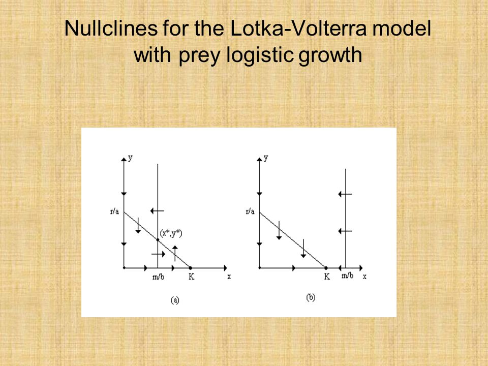 Nullclines for the Lotka-Volterra model with prey logistic growth
