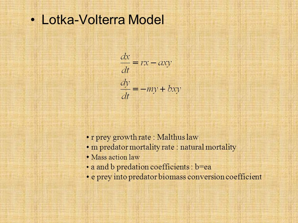 Lotka-Volterra Model r prey growth rate : Malthus law